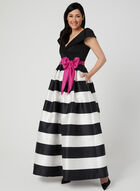 Stripe Print Belted Gown, Black, hi-res