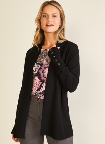 Open Front Mid-Length Cardigan, Black,  cardigan, open front, button details, mid length, long sleeves, knit, fall winter 2020
