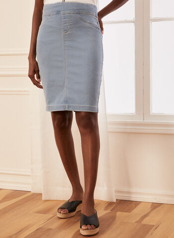 Pull-On Denim Skirt, Blue,  skirt, denim, straight, pockets, pull-on, spring summer 2020