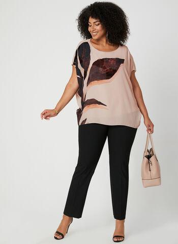 Blouse poncho à motif feuille, Multi, hi-res,  blouse, poncho, feuille, manches courtes, crêpe, automne hiver 2019