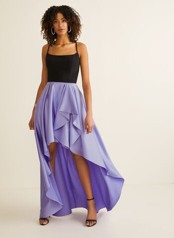 High Low Ball Gown, Purple,  prom dress, ball gown, scoop neck, satin, jersey, sleeveless, open back, flounce, high low, pockets, crinoline, spring summer 2020