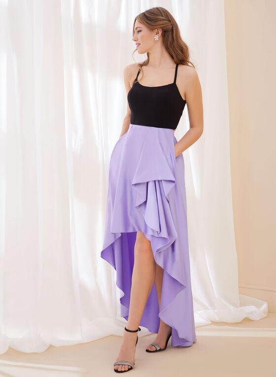 Robe de bal à jupe satinée, Violet
