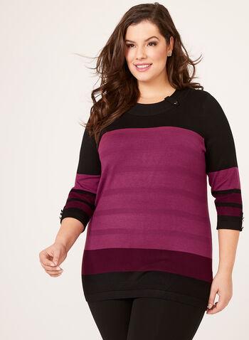 Colour Block Button Trim Sweater, Red, hi-res