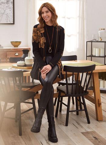 Legging en cuir végane et point de Rome, Noir,  legging, cuir végane, pull-on, point de rome, automne hiver 2020
