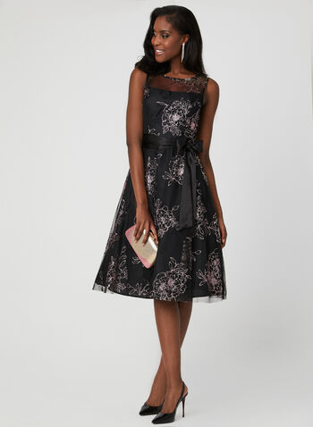 Floral Print Illusion Neck Dress, Black, hi-res