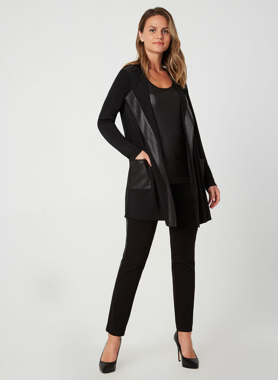 Faux Leather Trim Cardigan, Black