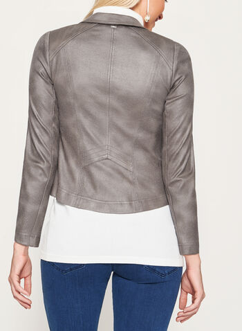 Vex - Faux Suede Zipper Trim Jacket, Grey, hi-res