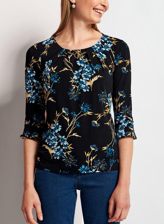 Floral Print Bell Sleeve Top, Blue, hi-res