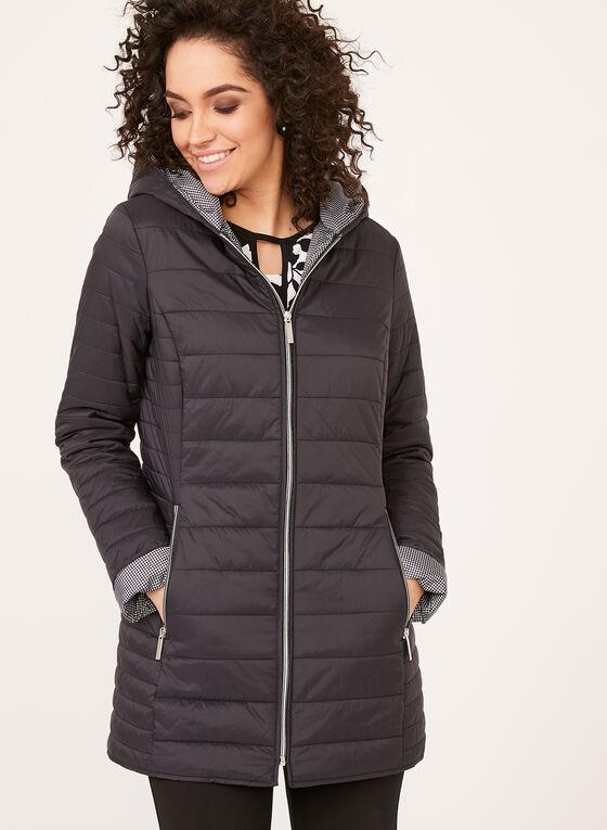 Manteau matelassé compressible avec capuchon, Noir, hi-res