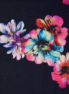 Foulard fleuri réversible à franges, Bleu