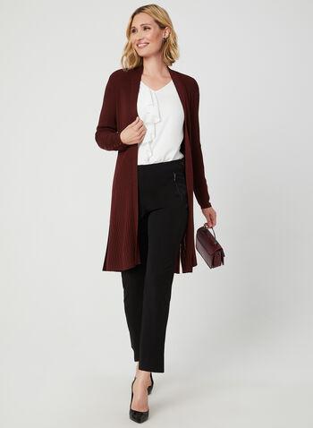 Cardigan long ouvert en tricot côtelé, Rouge,  cardigan, long, ouvert, manches longues, tricot côtelé, automne hiver 2019