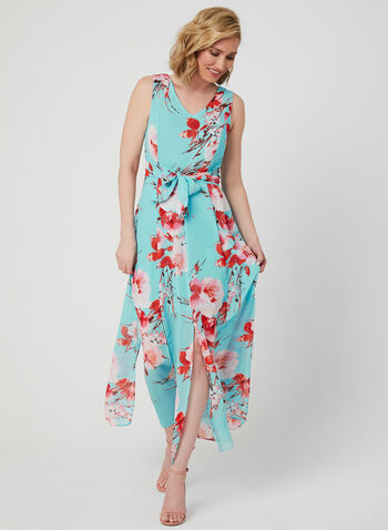 Emma & Michele – Carwash Hem Maxi Dress, Blue, hi-res,  car-wash dress, carwash dress, car-wash hem, cherry blossom print, floral print, chiffon dress, turquoise dress