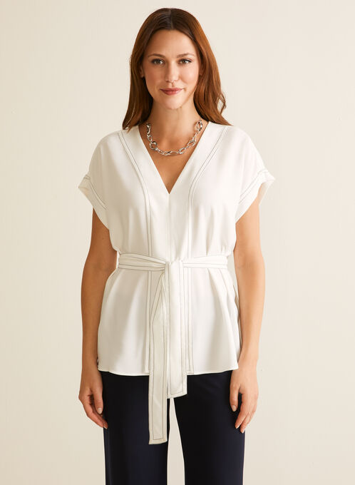 Kimono Sleeve Belted Blouse, Off White