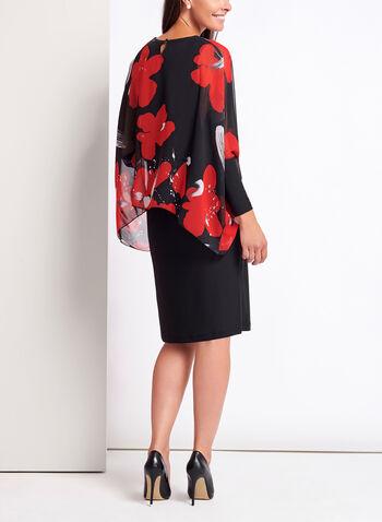 Floral Poncho Chiffon Jersey Dress, , hi-res