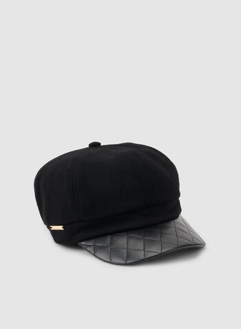 Vince Camuto - Pageboy Cap, Black, hi-res,  faux leather, vegan, brim, cap, winter 2019, fall 2019