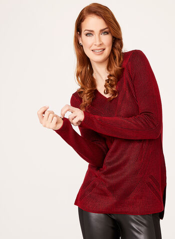 Plaited Rib Knit Sweater, Red, hi-res
