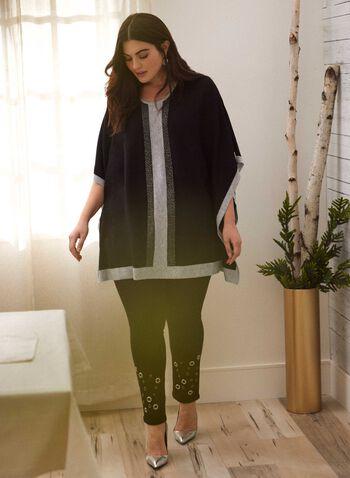 Two Tone Beaded Poncho, Black,  Fall winter 2020, poncho, knit, beaded, two-tone