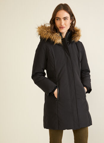 Hooded Down Blend Coat, Black,  fall winter 2020, coat, pockets, hood, faux fur, winter coat, water repellent, down, feathers, holiday, holiday 2020