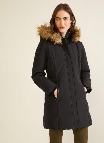 Manteau en duvet mélangé à capuchon, Noir,  automne hiver 2020, manteau, poches, capuchon, fausse fourrure, manteau d'hiver, poches, hydrofuge, duvet, plumes
