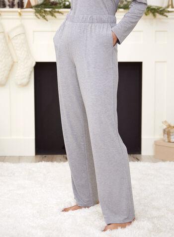 Pantalon de pyjama avec poches, Gris,  automne 2021, vêtement de nuit, pantalon, pyjama, bas de pyjama, pull-on, modèle à enfiler, taille élastique, jambe droite, 2 poches, matière, doux, plus