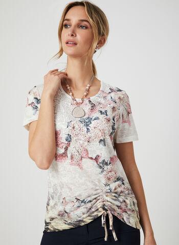 T-shirt fleuri à détail crochet, Rouge, hi-res,  t-shirt, manches courtes, col dégagé, fleurs, strass, crochet, lien, automne hiver 2019