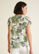 Tropical Print Cold Shoulder Tee, Green