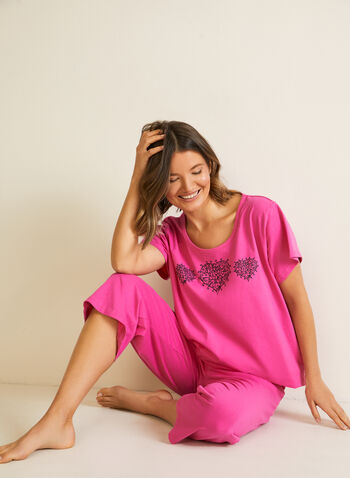 Heart Motif Pyjama Set, Pink,  sleepwear, pyjamas, cotton, capris, t-shirt, heart, pull-on fall winter 2020