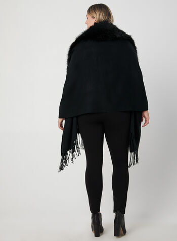 Faux Fur Collar Wrap, Black, hi-res,  wrap, faux fur, fringe, fall 2019, winter 2019