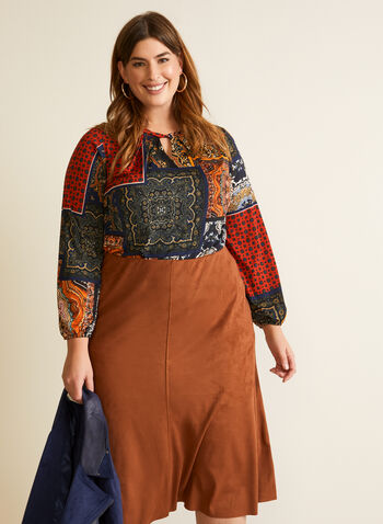 Mosaic Print Cutout Detail Top, Blue,  fall winter 2020, top, omg sleeves, balloon, round neck, cutout, twist, mosaic, made in canada