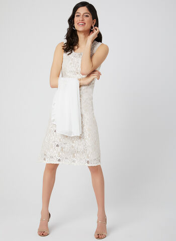 Glitter Lace Dress & Duster, Off White, hi-res