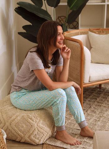 Daisy Print Pyjama Set, Grey,  spring summer 2021, pyjama, pj, set, sleepwear, tee, pants, capri, pull-on, elastic waist, short sleeve, contrast, soft, straight leg, daisy print, slogan, floral print