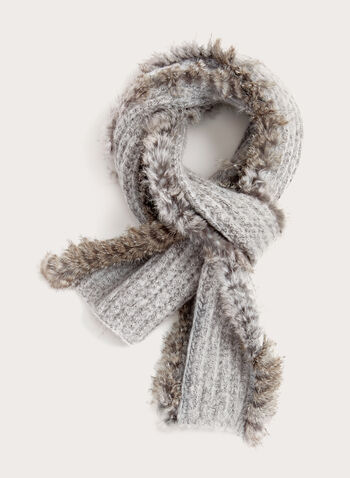 Fur Trim Knit Scarf, Grey, hi-res
