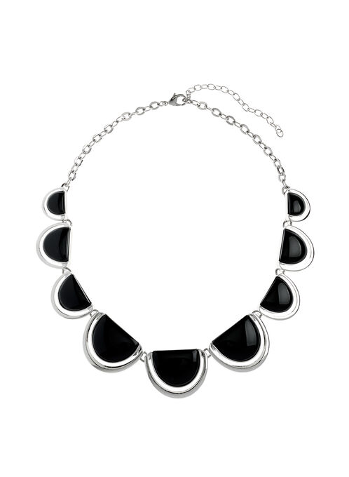 Half Moon Necklace, Black, hi-res