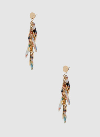 Cluster Dangle Earrings, Gold, hi-res