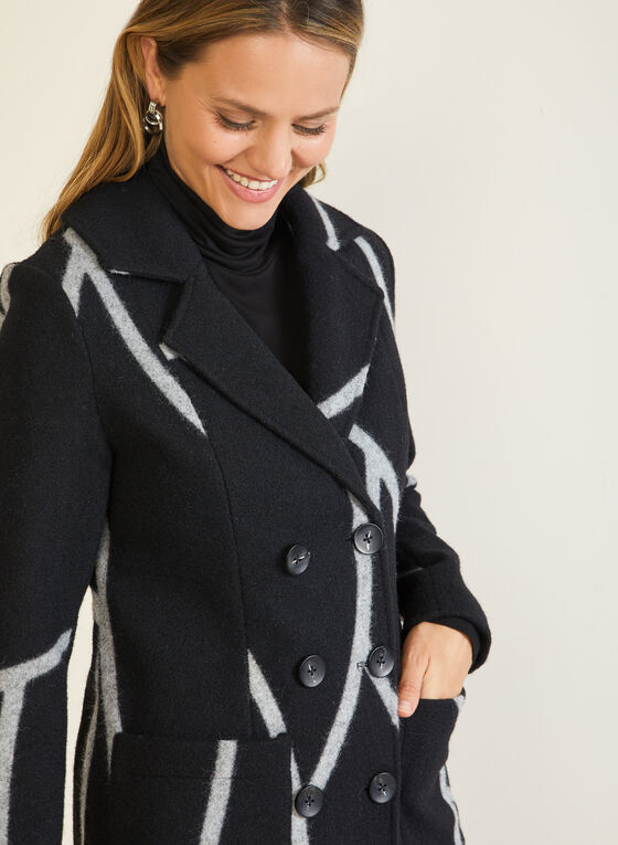 Abstract Print Notched Collar Coat, Black
