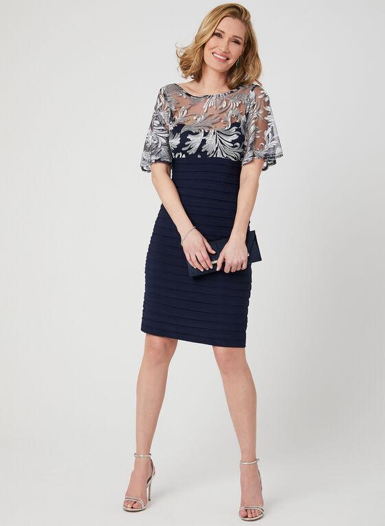 Embroidered Jersey Shutter Dress, Blue