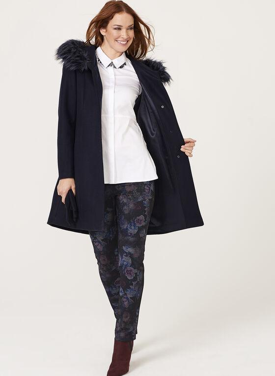 Manteau aspect laine et col en fausse fourrure amovible, Bleu, hi-res