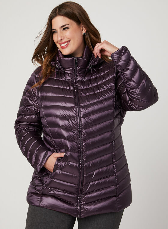 Lightweight Packable Down Coat, Purple, hi-res