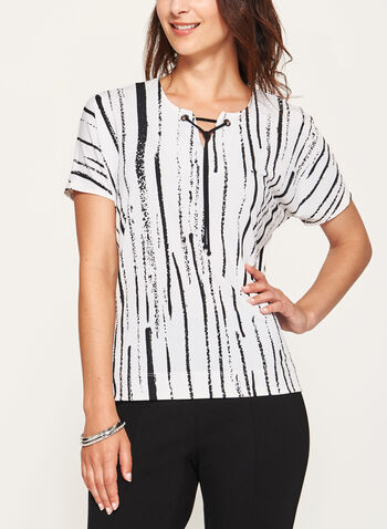 Abstract Print Jersey Top , White, hi-res