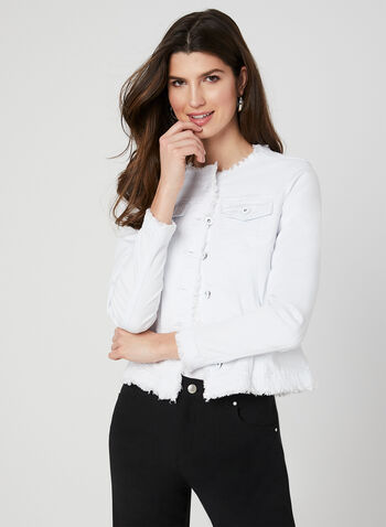 Charlie B - Veste effrangée en jean, Blanc, hi-res