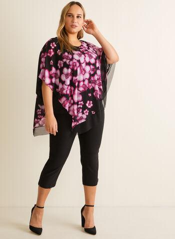 Blouse poncho en mousseline fleurie, Multi,  blouse, poncho, fleurs, jersey, mousseline, asymétrique, printemps été 2020