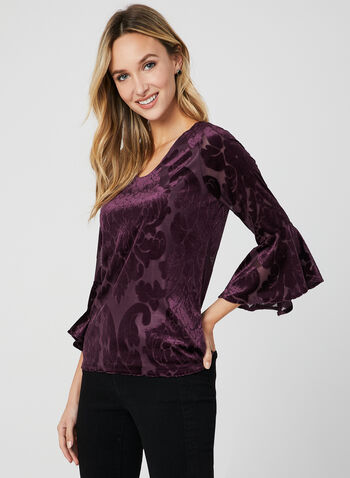 Velour Burnout Top, Red, hi-res