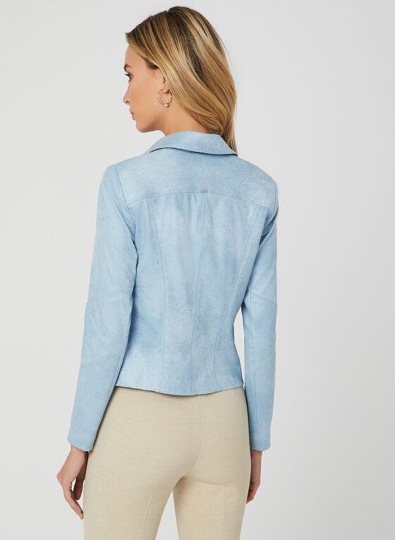 Vex - Blazer en faux daim et détails zippés, Bleu