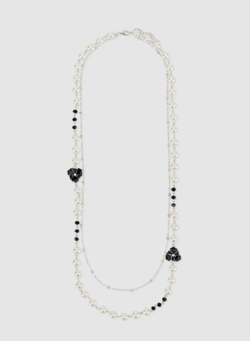 Collier sautoir avec perles et fleurs, Blanc cassé, hi-res