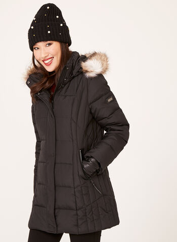 Novelti - Reflective Quilted Down Coat, Black, hi-res