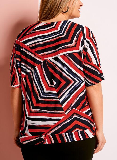 Haut graphique zigzag avec détail noeud, Rouge, hi-res