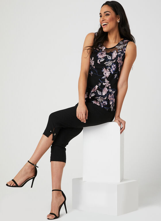 Embroidered Illusion Top, Black, hi-res