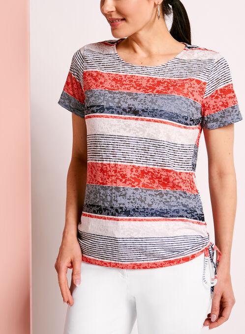 T-shirt coton rayé à côtés froncés noués, Bleu, hi-res