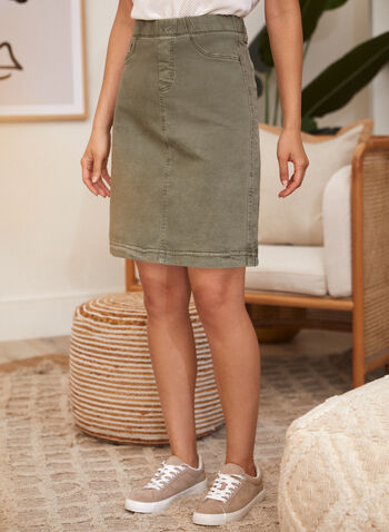 Charlie B - Pull-On Skirt, Grey,  spring summer 2021, made in Canada, pull on, faux pockets, twill,