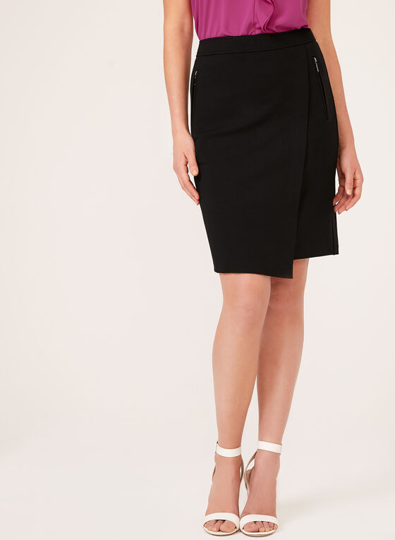 Faux Wrap Pencil Skirt, Black, hi-res